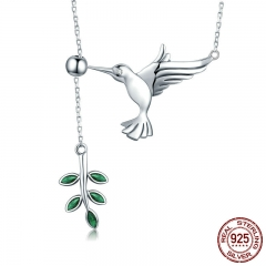 Authentic 925 Sterling Silver Spring Bird & Tree Leaf Leaves Dangle Pendant Necklace for Women Silver Jewelry SCN217