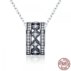 Authentic 925 Sterling Silver Vintage Fascination, Clear CZ Pendant Necklace for Women Sterling Silver Jewelry SCN231
