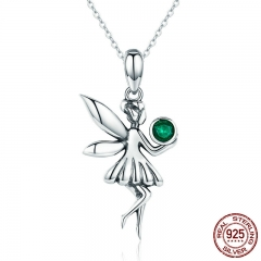 New Trendy Authentic 925 Sterling Silver Figure Forest Fairy Female Pendant Necklaces for Women Silver Jewelry SCN249