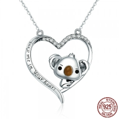 High Quality Real 925 Sterling Silver Lovely Koala in Heart Pendant Necklaces for Women Sterling Silver Jewelry SCN256