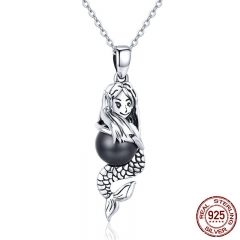 Romantic Authentic 925 Sterling Silver Spirit of Ocean Mermaids Chain Pendant Necklaces for Women Silver Jewelry SCN251
