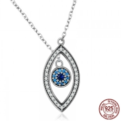High Quality 100% 925 Sterling Silver Lucky Blue Eyes Long Chain Pendant Necklaces for Women Silver Jewelry Gift SCN236