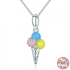 New Arrival 100% 925 Sterling Silver The Ice Cream Shape Color Enamel Pendant Necklaces Women Silver Jewelry SCN246
