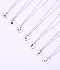Initial Disc Necklace stainless steel Letter Pendant Necklace Dainty Personalized Initial Jewelry