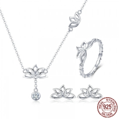 Elegant 925 Sterling Silver Lotus Flower Earrings & Necklaces Pendant Jewelry Sets for Women Silver Jewelry Gift ZHS067