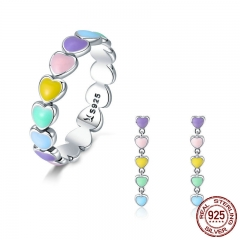 Authentic 925 Sterling Silver Jewelry Set Rainbow Heart to Heart Rings & Earrings Jewelry Sets Sterling Silver Jewelry SCR444
