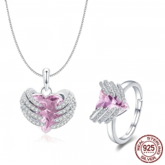 Elegant 925 Sterling Silver Guardian Heart Angel Wings Pendant Necklace & Rings Jewelry Sets Authentic Silver Jewelry Set
