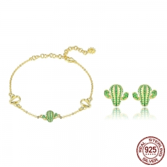 Authentic 925 Sterling Silver Cactus Green CZ Plant Bracelets Stud Earrings Jewelry Set Sterling Silver Jewelry Gift