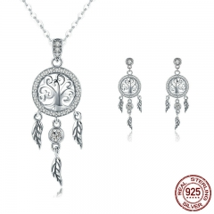 Authentic 925 Sterling Silver Tree of Life Dream Catcher Necklaces Pendant Jewelry Set Sterling Silver Jewelry SCE457