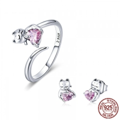 uthentic 925 Sterling Silver Cute Cat Pussy Pink CZ Rings & Earrings Jewelry Sets Fashion Sterling Silver Jewelry Set SCE453