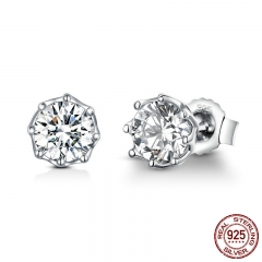 Authentic 925 Sterling Silver Classic Clear Cubic Zircon Small Stud Earrings for Women Sterling Silver Jewelry SCE499 EARR-0583