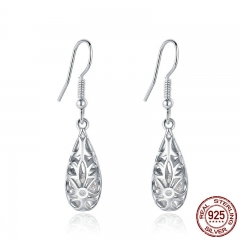 2 Colors 925 Sterling Silver Droplets Geometric Simple Openwork Drop Earrings for Women Authentic Silver Jewelry SCE467