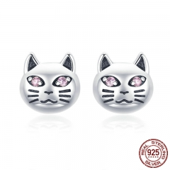 Authentic 925 Sterling Silver Vintage Sticky Cat Small Stud Earrings for Women Sterling Silver Jewelry Gift SCE440 EARR-0505