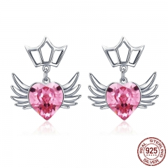Authentic 925 Sterling Silver Dream Wings Pink Heart CZ Exquisite Stud Earrings for Women Sterling Silver Jewelry SCE505 EARR-0575