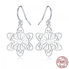 New Collection Genuine 925 Sterling Silver Trendy Snowflakes Drop Earrings for Women Sterling Silver Jewelry SCE507