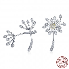Genuine 925 Sterling Silver Blooming Dandelion Love Exquisite Stud Earrings for Women Fashion Silver Jewelry SCE506