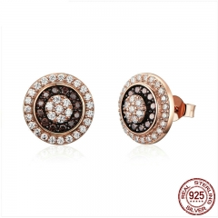 Classic 925 Sterling Silver Round Circle Gold Color Small Stud Earrings for Women Dazzling Cubic Zircon Jewelry 	SCE203
