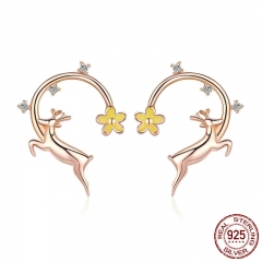 Authentic 925 Sterling Silver Running Elk Deer Rose Gold Color Stud Earrings for Women Fashion Earrings Jewelry BSE014