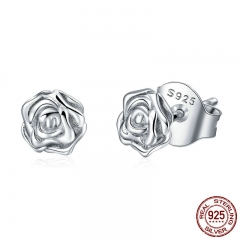 Authentic 925 Sterling Silver Romantic Rose Flower Stud Earrings for Women Fashion Sterling Silver Jewelry Y PSC050