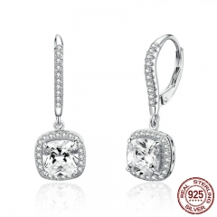 Authentic 925 Sterling Silver Dazzling Cubic Zircon Square Geometric Drop Earrings for Women Wedding Jewelry 	520