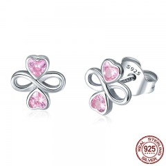 Real 925 Sterling Silver Infinite Love Pink Heart Clover Small Stud Earrings for Women Authentic Silver Jewelry SCE455 EARR-0542