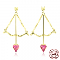 Genuine 925 Sterling Silver Cupid Arrow Pink Heart Drop Earrings for Women Valentines Day Gift Jewelry BSE023