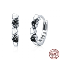 Genuine 925 Sterling Silver Heart to Heart Hoop Earrings Silver for Women Sterling Silver Fine Jewelry Gift SCE445