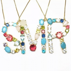 Fashion colorful cz stone gold plated rainbow initial capital letter necklace