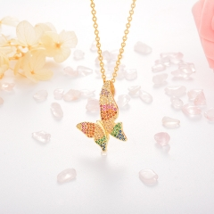 Stainless Steel Necklace with Copper Charms NS-0677B