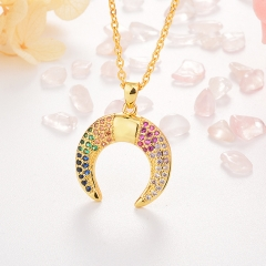 Stainless Steel Necklace with Copper Charms NS-0688B