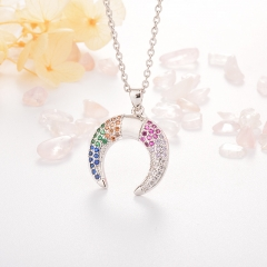 Stainless Steel Necklace with Copper Charms NS-0688A