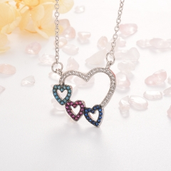 Stainless Steel Necklace with Copper Charms NS-0678A