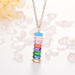 Stainless Steel Necklace with Copper Charms NS-0680A