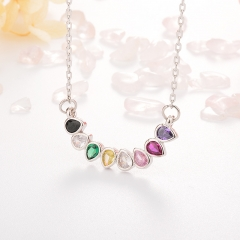 Stainless Steel Necklace with Copper Charms NS-0681A