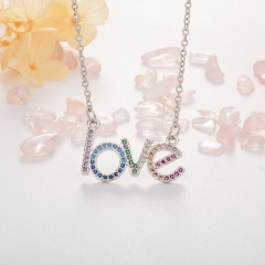Stainless Steel Necklace with Copper Charms NS-0689A