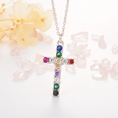 Stainless Steel Necklace with Copper Charms NS-0687A