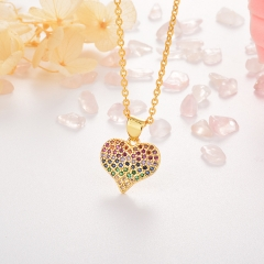 Stainless Steel Necklace with Copper Charms NS-0691B