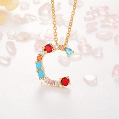 Stainless Steel Necklace with Copper Charms NS-0699
