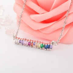 Stainless Steel Necklace with Copper Charms NS-0674A