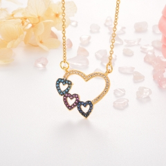 Stainless Steel Necklace with Copper Charms NS-0678B