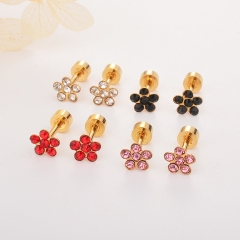 Stainless Steel Earing 3pc Black+Pink+Red Color