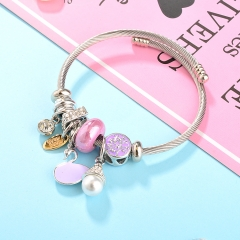 Stainless Steel Bracelet With Alloy Charms BS-1798