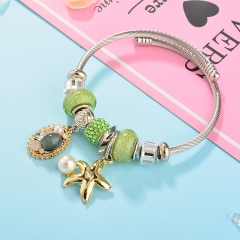 Stainless Steel Bracelet With Alloy Charms BS-1793