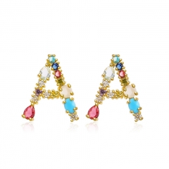 Women Diamond Gold Rainbow Letter Inital Earrings TTTE-0028