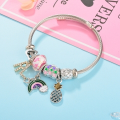 Stainless Steel Bracelet With Alloy Charms BS-1799