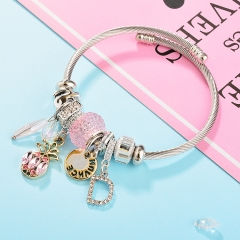 Stainless Steel Bracelet With Alloy Charms BS-1796