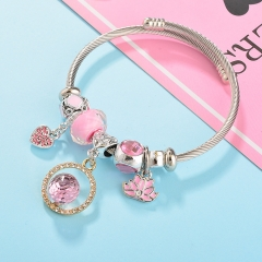 Stainless Steel Bracelet With Alloy Charms BS-1794