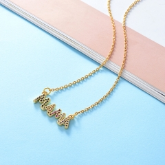 Stainless Steel Necklace with Brass Charms TTTN-0008