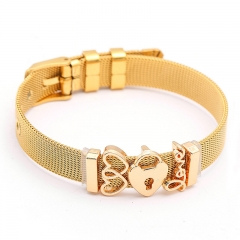 Fashion Personalized Mesh Stainless Steel Slide Custom Women Charm Bracelet with Aolly Charms BS-211