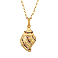 Stainless Steel Chain and Brass Pendant Necklace TTTN-0053